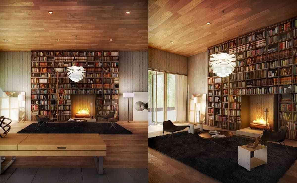 Tủ sách cho phòng khách sang trọng - showroom noi that nhap khau Reading nook