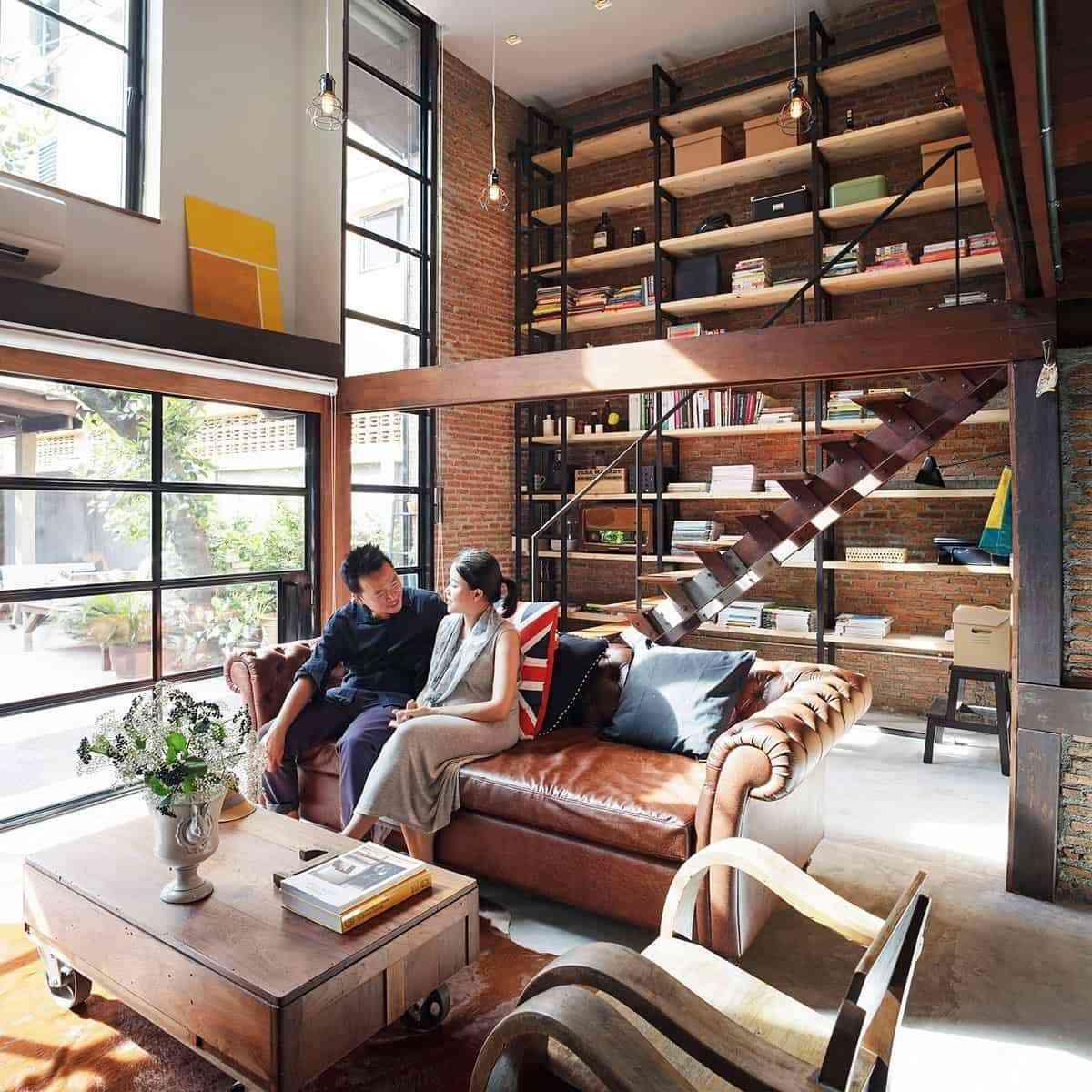 Tủ sách cho phòng khách sang trọng - showroom noi that nhap khau Understair home library