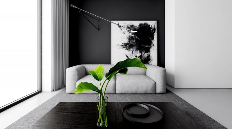 10 mẫu thiết kế phòng khách hiện đại với Sofa màu trắng đen - showroom noi that nhap khau dramatic monochrome lounge palm leaves in a vase large black and white abstract wooden coffee table indoor plants simple white couch abstract wall art wall lamo large window 800x445