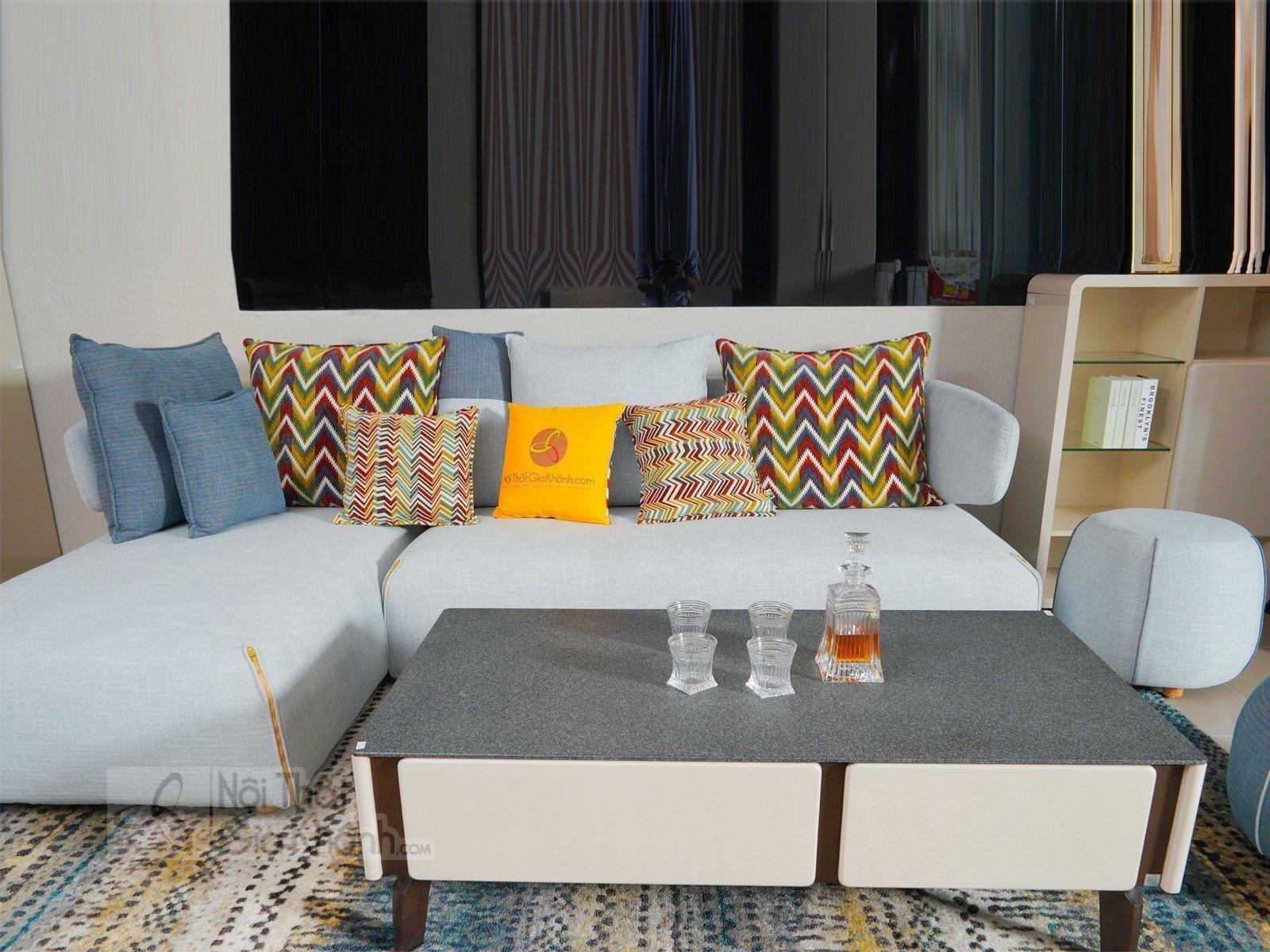 Bàn trà (Bàn Sofa) hiện đại phòng khách gỗ sồi mặt kính 3325BT - sofa ni hien dai 3342SF 9 1