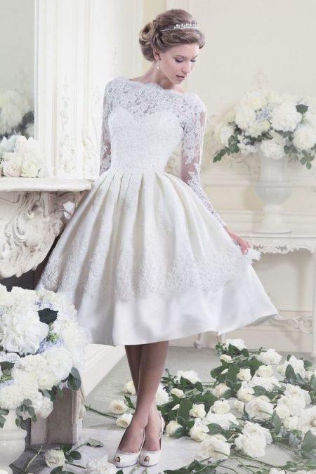 đầm cưới ngắn tay dài